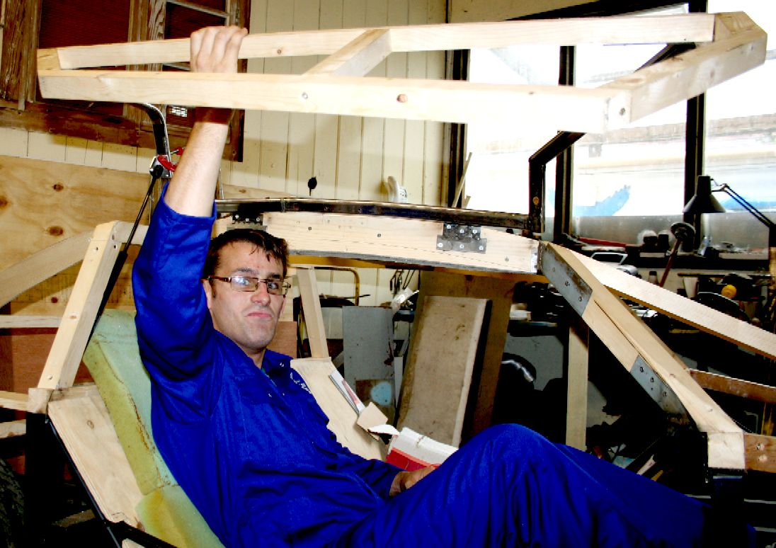 Project leader: Chris Close testing out the gullwing door mechanism