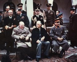 "The ""Big Three"": Winston Churchill (left), Franklin D. Roosevelt (middle) and Joseph Stalin (right), during the Yalta Conference in 1945"