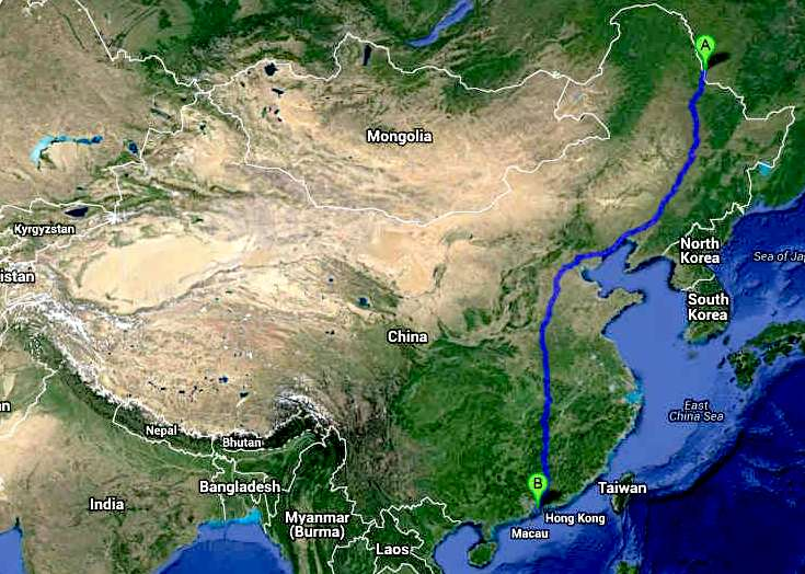 Trans-China Cannonball International ZEV Run series route map