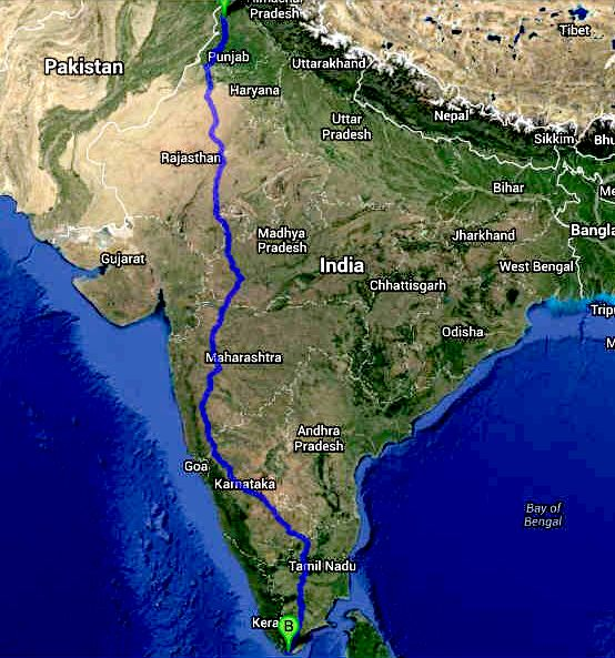 Trans-India international Cannonball ZEV Run series route maps
