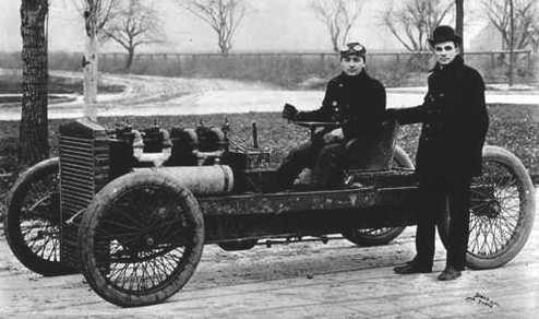 Henry Ford and his racing Arrow land speed record car 1902