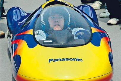 Panasonic Oxyride Racer AA battery speed record car