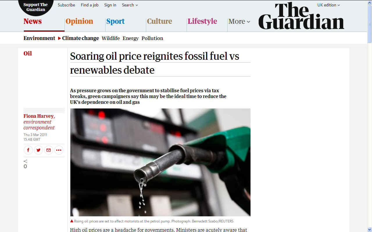 The Guardian on soaring oil prices